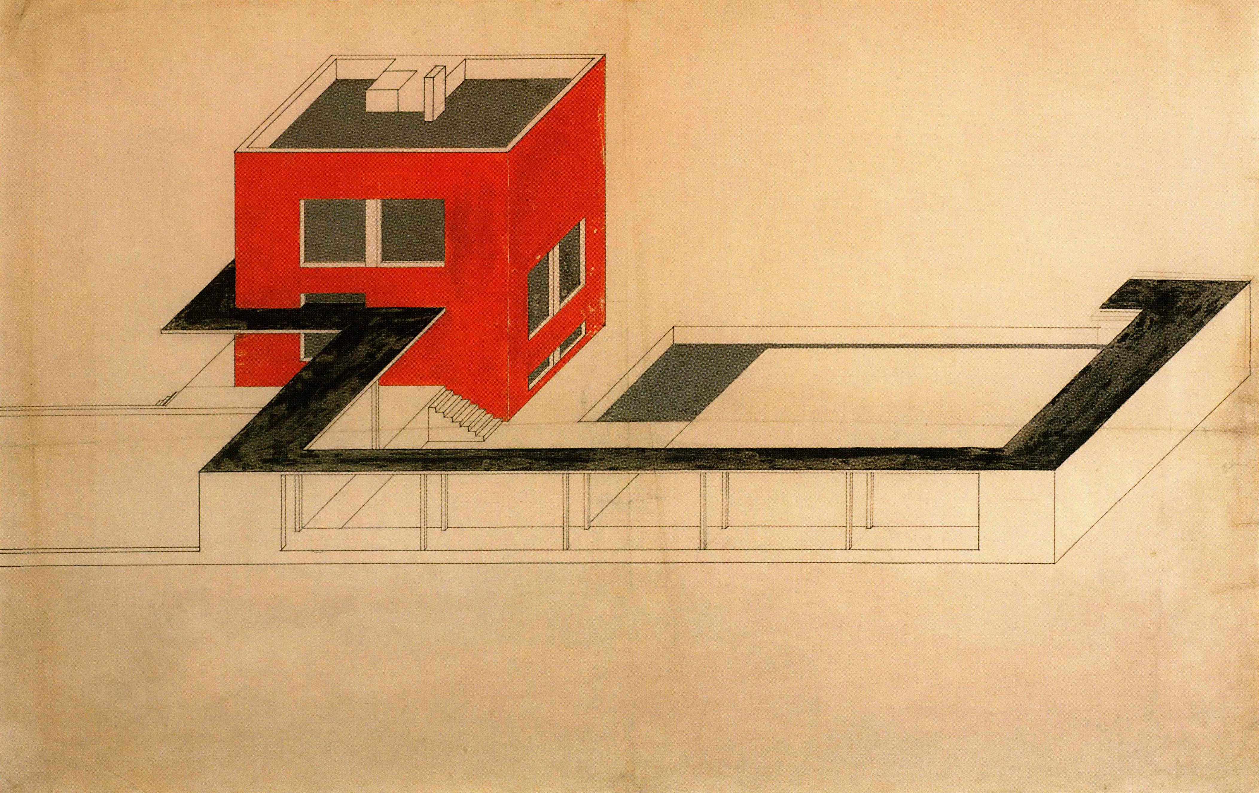 Farkas Molnar Project For A Single Family House Der Rote Wiirfel The Red Cube Presentation Drawing 1923 Ink And Gouache On Board 59 X 915cm
