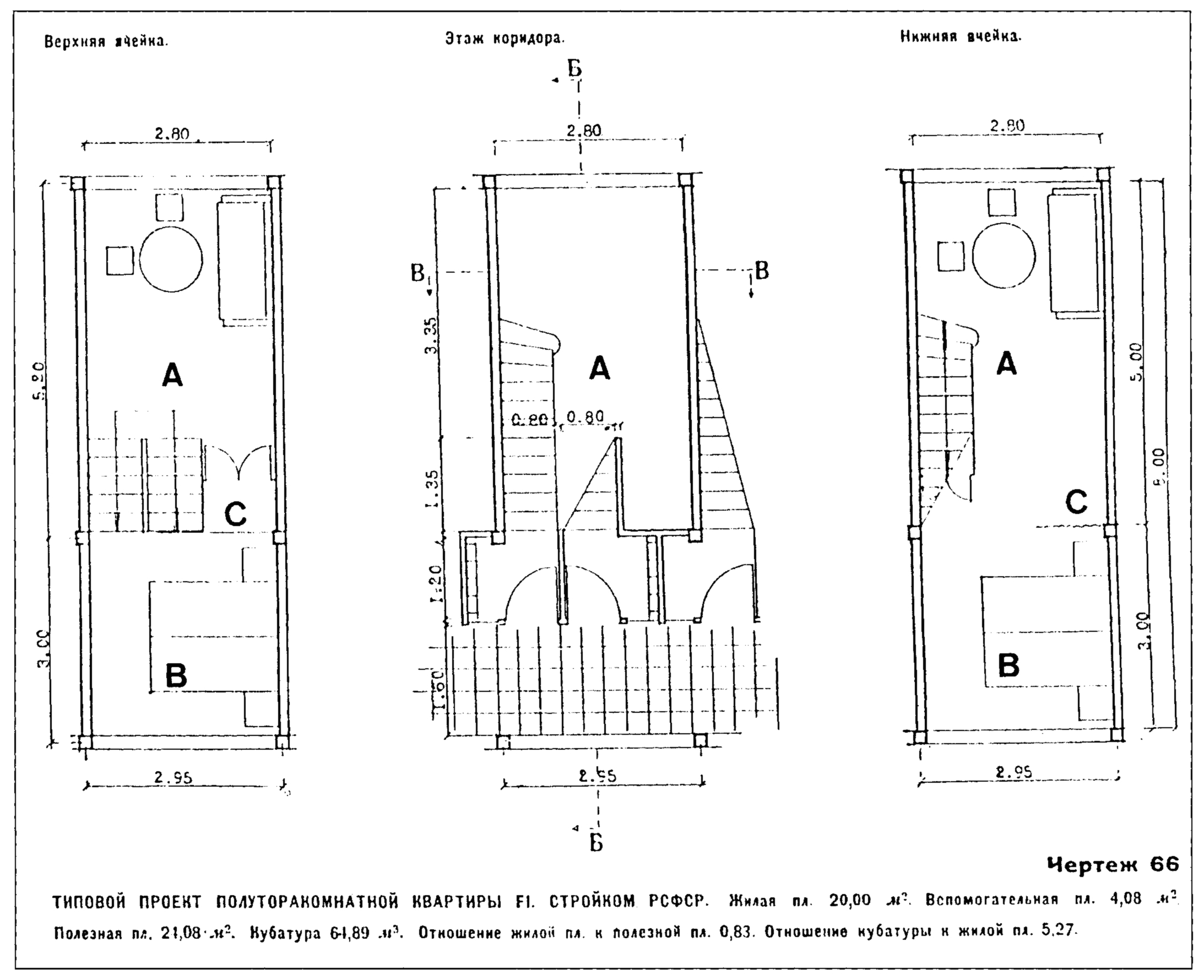 F-unit plans – (A) common room, (B) sleeping niche, (C) niche for ...