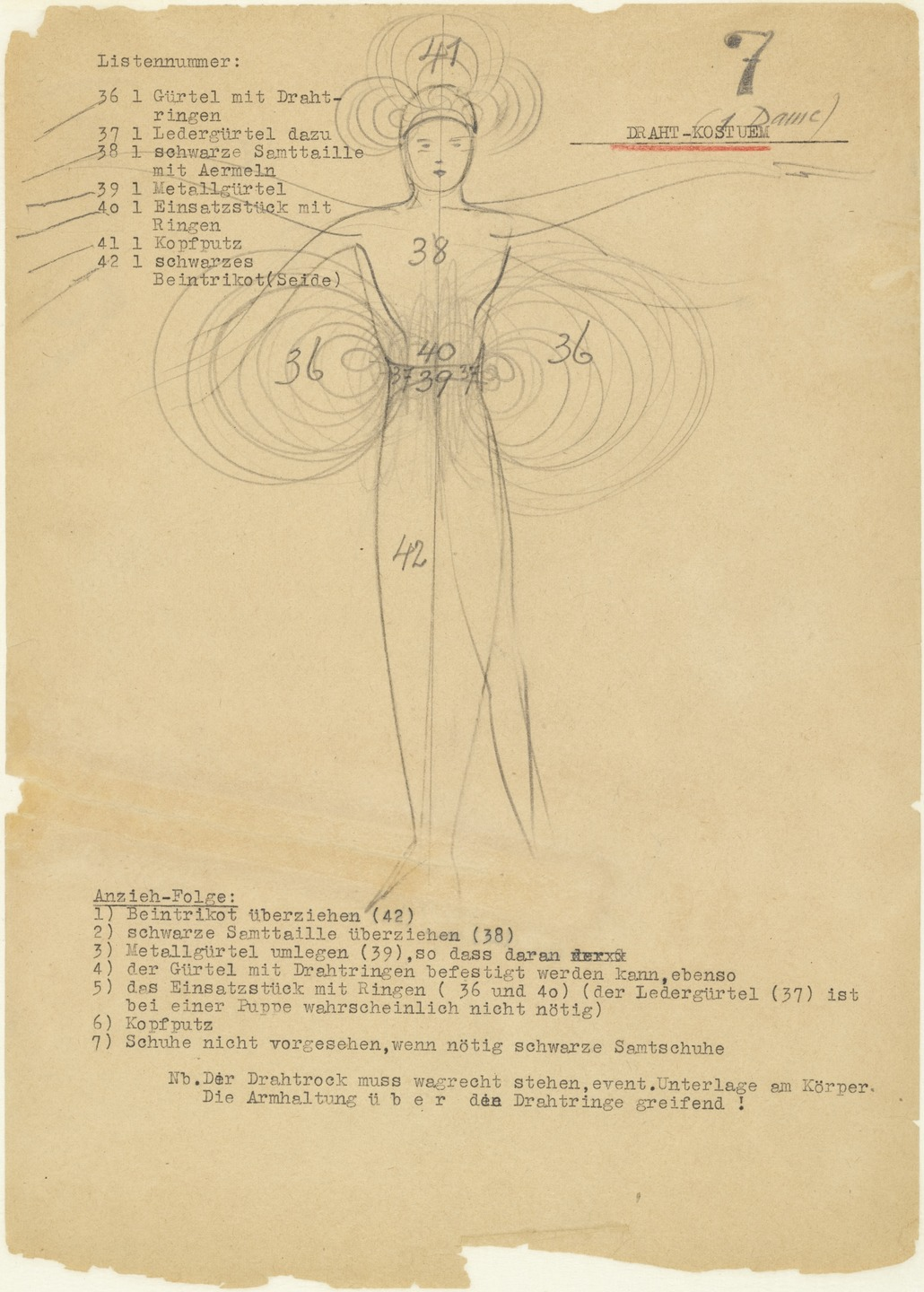 Oskar Schlemmer Wire Costume (Draht-Kostüm) from Notes and Sketches ...