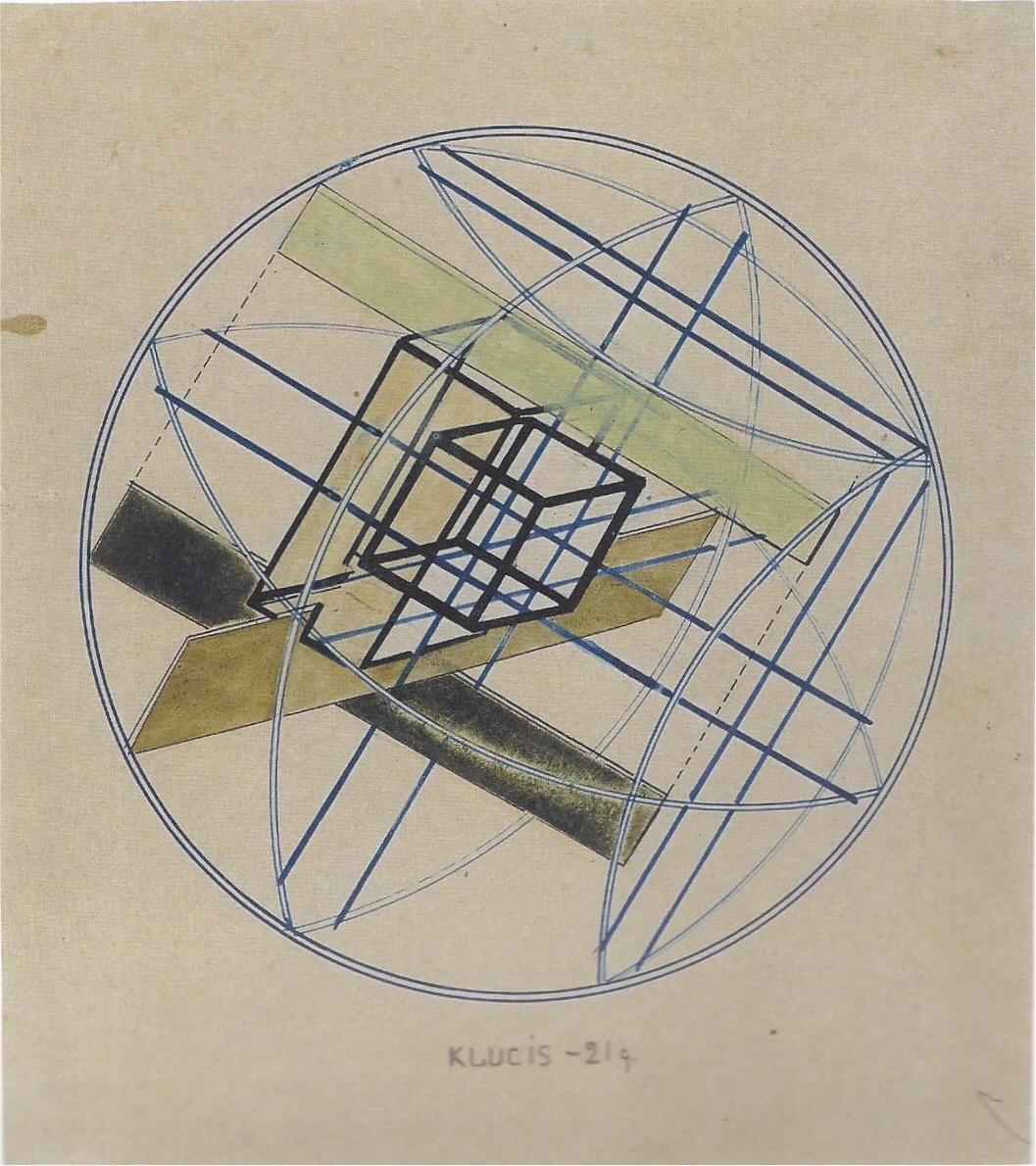 Gustav Klutsis Construction Encre Bleue Vernis Et Crayon Sur Papier